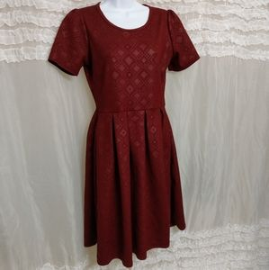 LLR LuLaRoe Elegant Amelia Brick Red Print Dress
